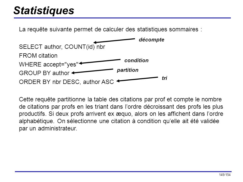 149/154 Statistiques La requête suivante permet de calculer des statistiques sommaires : SELECT author, COUNT(id) nbr FROM citation WHERE accept=