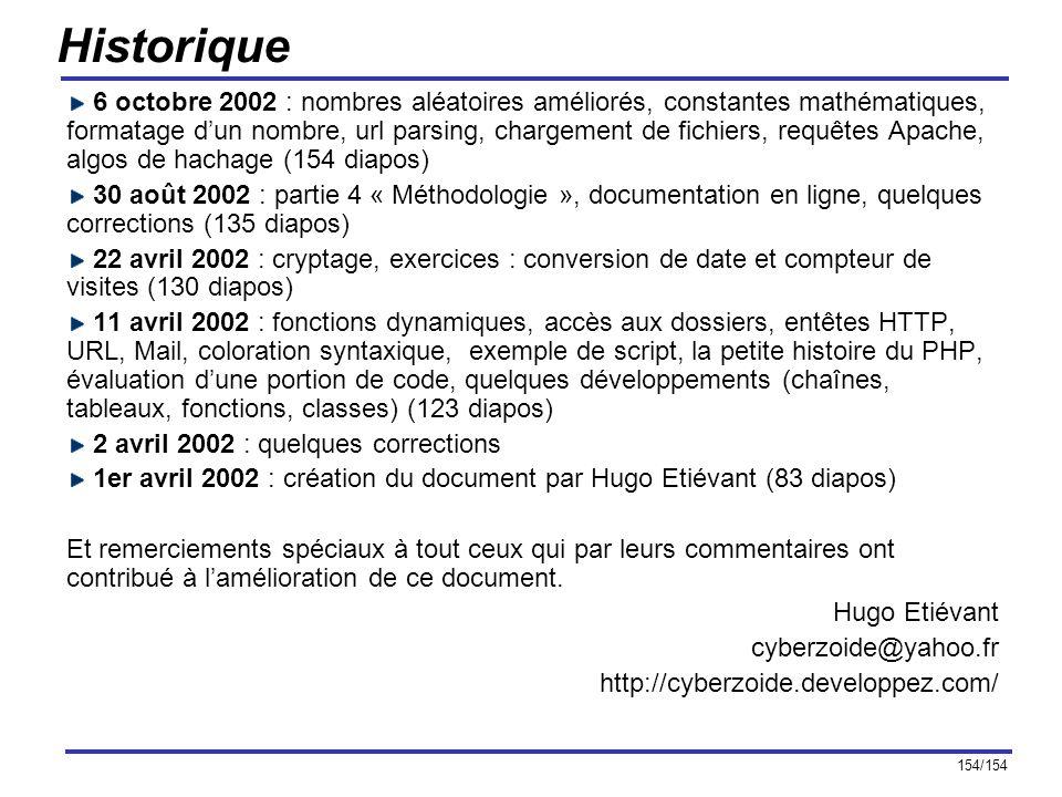 154/154 Historique 6 octobre 2002 : nombres aléatoires améliorés, constantes mathématiques, formatage dun nombre, url parsing, chargement de fichiers,
