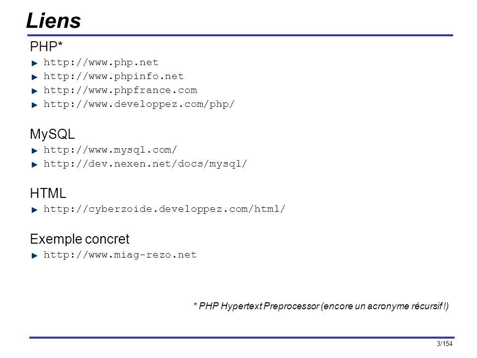 3/154 Liens PHP* http://www.php.net http://www.phpinfo.net http://www.phpfrance.com http://www.developpez.com/php/ MySQL http://www.mysql.com/ http://