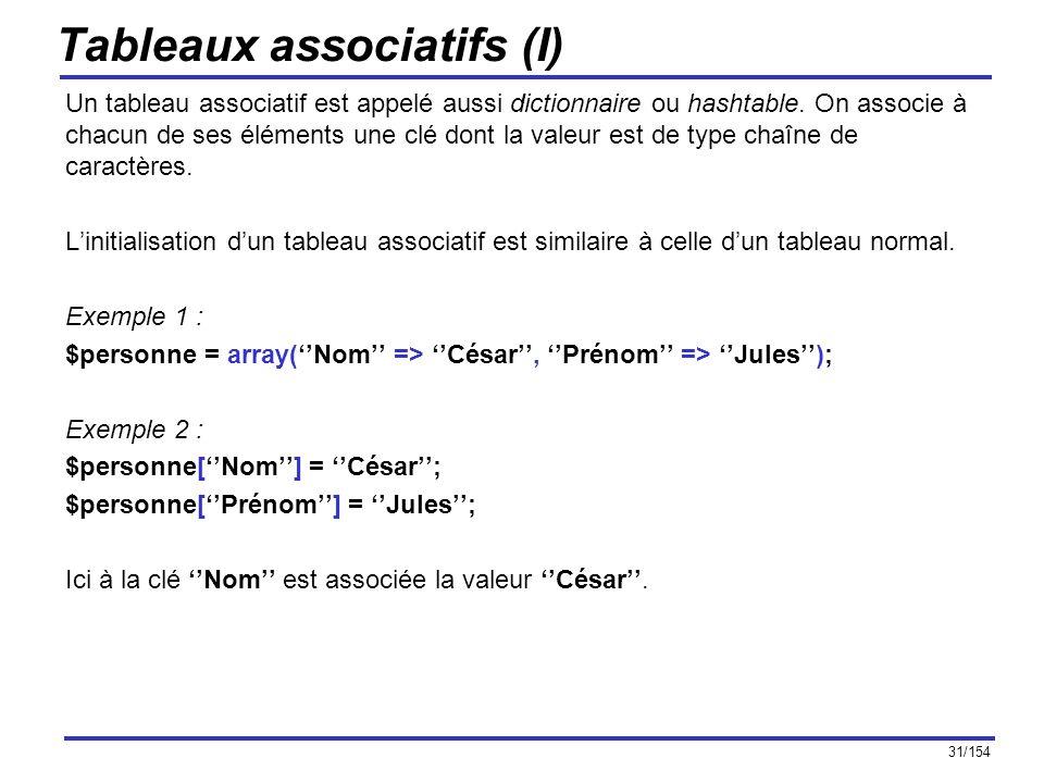 31/154 Tableaux associatifs (I) Un tableau associatif est appelé aussi dictionnaire ou hashtable. On associe à chacun de ses éléments une clé dont la