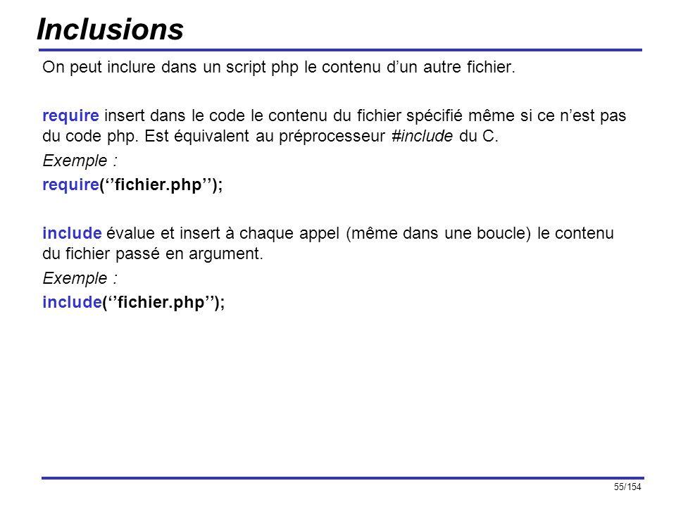 55/154 Inclusions On peut inclure dans un script php le contenu dun autre fichier. require insert dans le code le contenu du fichier spécifié même si