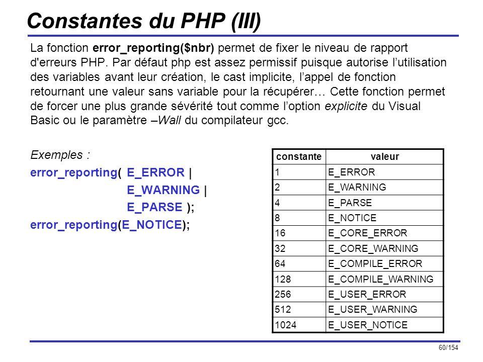 60/154 Constantes du PHP (III) La fonction error_reporting($nbr) permet de fixer le niveau de rapport d'erreurs PHP. Par défaut php est assez permissi