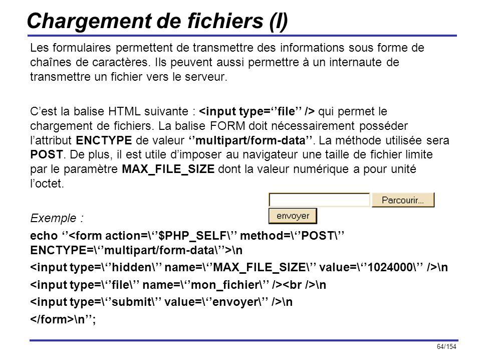 64/154 Chargement de fichiers (I) Les formulaires permettent de transmettre des informations sous forme de chaînes de caractères. Ils peuvent aussi pe