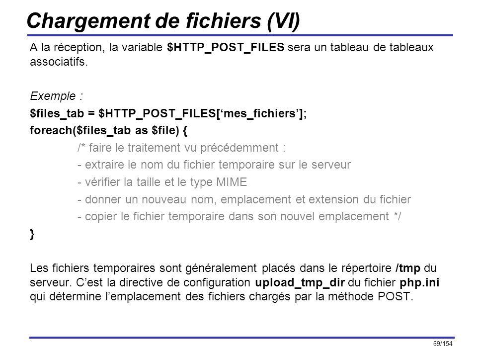 69/154 Chargement de fichiers (VI) A la réception, la variable $HTTP_POST_FILES sera un tableau de tableaux associatifs. Exemple : $files_tab = $HTTP_