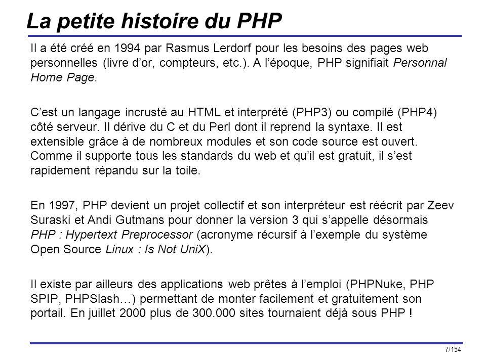 7/154 La petite histoire du PHP Il a été créé en 1994 par Rasmus Lerdorf pour les besoins des pages web personnelles (livre dor, compteurs, etc.). A l