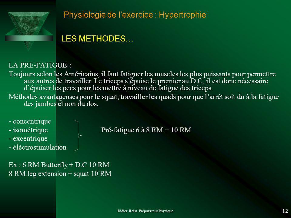 Didier Reiss Préparateur Physique 12 Physiologie de lexercice : Hypertrophie LA PRE-FATIGUE : Toujours selon les Américains, il faut fatiguer les musc