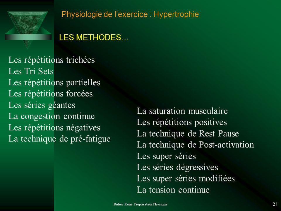 Didier Reiss Préparateur Physique 21 Physiologie de lexercice : Hypertrophie Les répétitions trichées Les Tri Sets Les répétitions partielles Les répé
