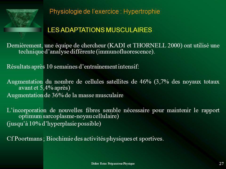 Didier Reiss Préparateur Physique 27 Physiologie de lexercice : Hypertrophie Dernièrement, une équipe de chercheur (KADI et THORNELL 2000) ont utilisé