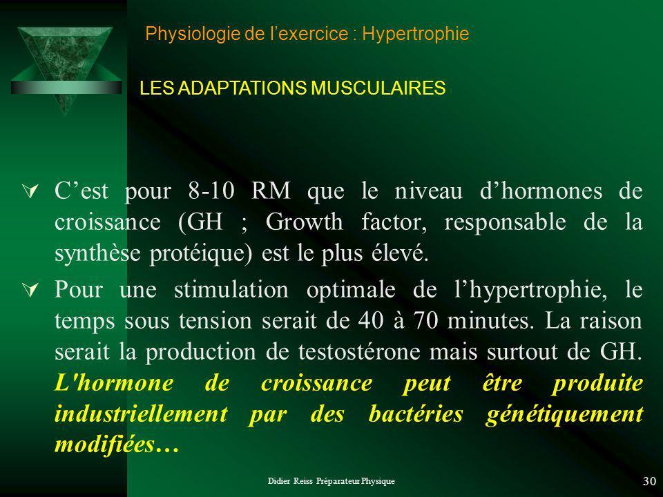 Didier Reiss Préparateur Physique 30 Physiologie de lexercice : Hypertrophie Cest pour 8-10 RM que le niveau dhormones de croissance (GH ; Growth factor, responsable de la synthèse protéique) est le plus élevé.