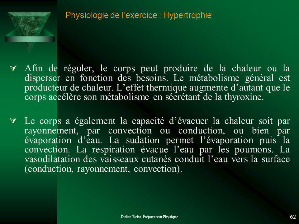 Didier Reiss Préparateur Physique 62 Physiologie de lexercice : Hypertrophie Afin de réguler, le corps peut produire de la chaleur ou la disperser en fonction des besoins.