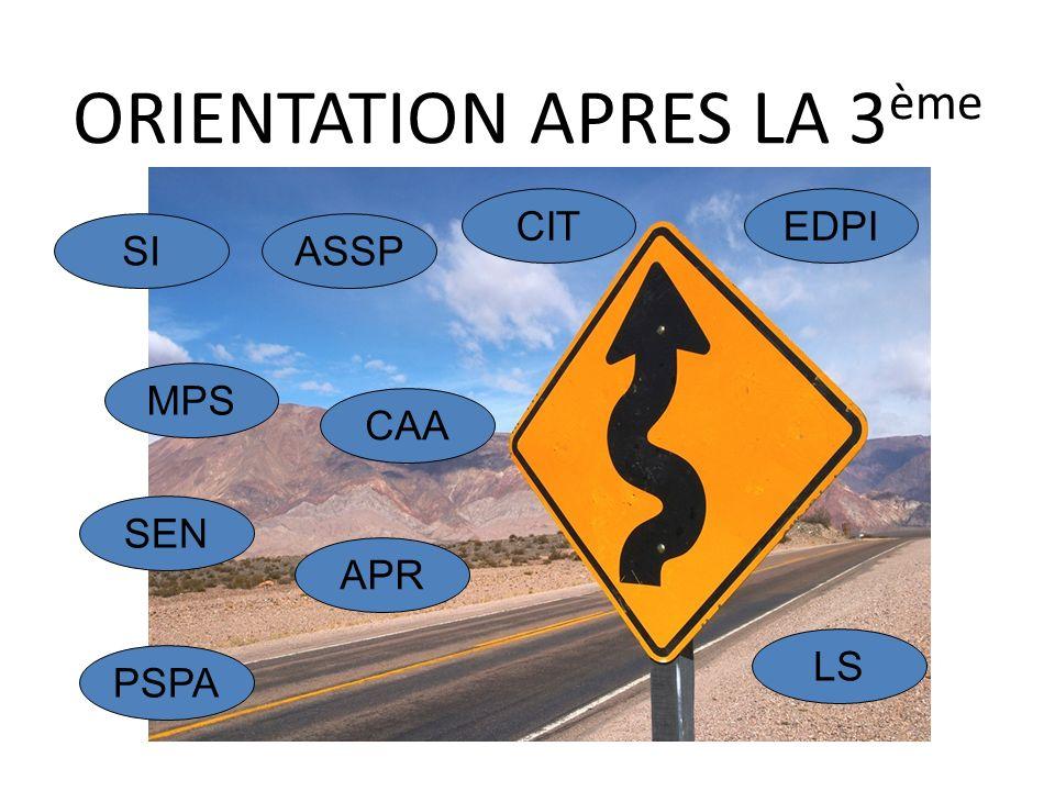 ORIENTATION APRES LA 3 ème SI MPS SEN ASSP CIT CAA APR LS PSPA EDPI