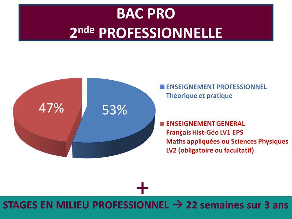 STAGES EN MILIEU PROFESSIONNEL 22 semaines sur 3 ans BAC PRO 2 nde PROFESSIONNELLE +