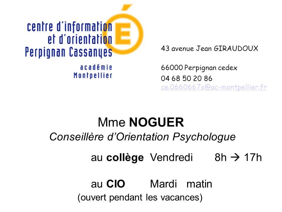 43 avenue Jean GIRAUDOUX 66000 Perpignan cedex 04 68 50 20 86 ce.0660667s@ac-montpellier.fr ce.0660667s@ac-montpellier.fr Mme NOGUER Conseillère dOrie