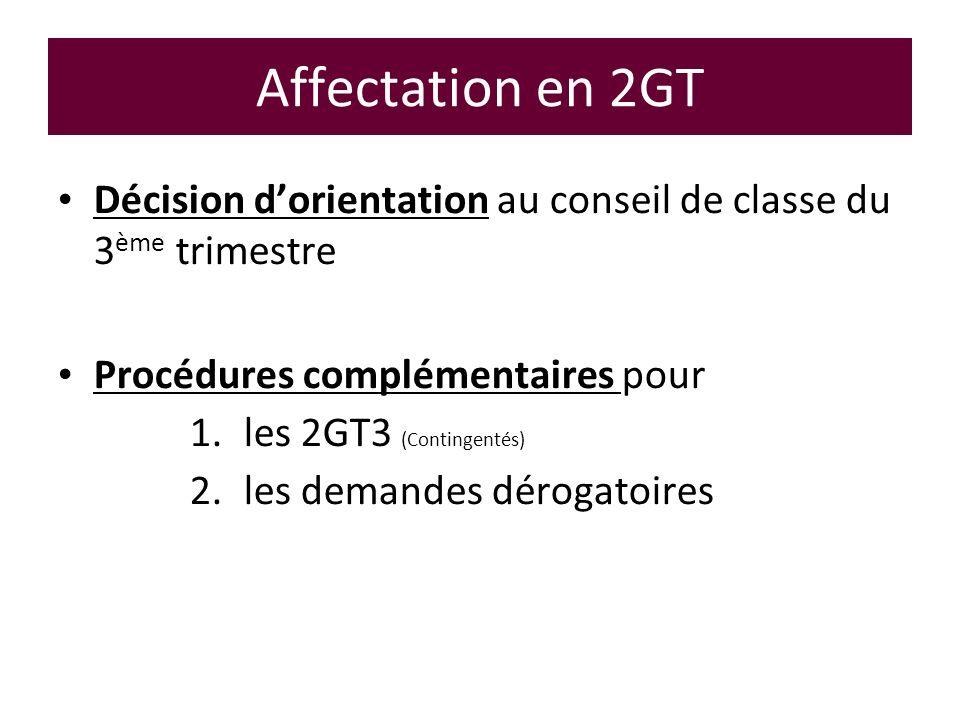 Affectation en 2GT Décision dorientation au conseil de classe du 3 ème trimestre Procédures complémentaires pour 1.les 2GT3 (Contingentés) 2.les deman
