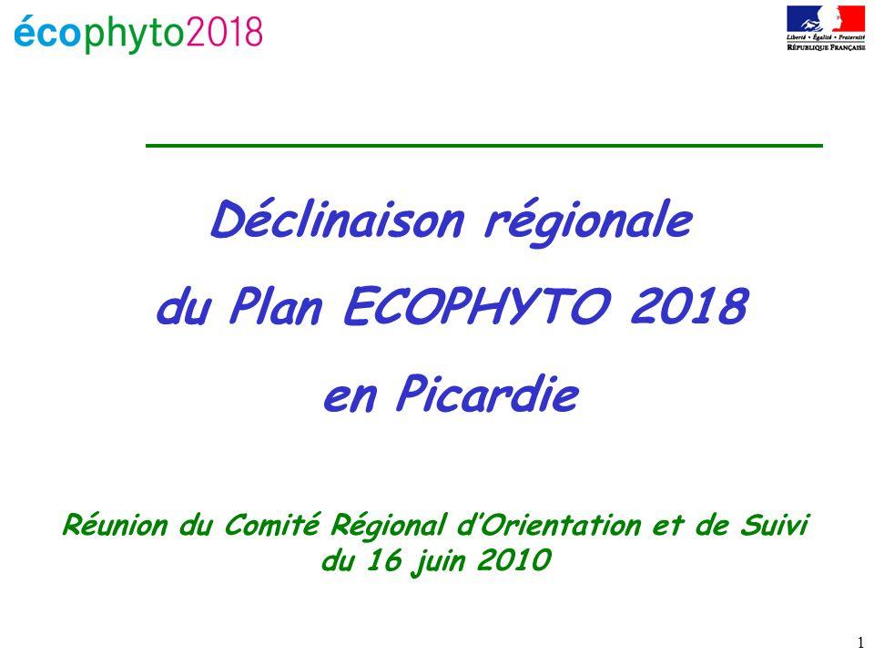 1 Déclinaison régionale du Plan ECOPHYTO 2018 en Picardie Réunion du Comité Régional dOrientation et de Suivi du 16 juin 2010
