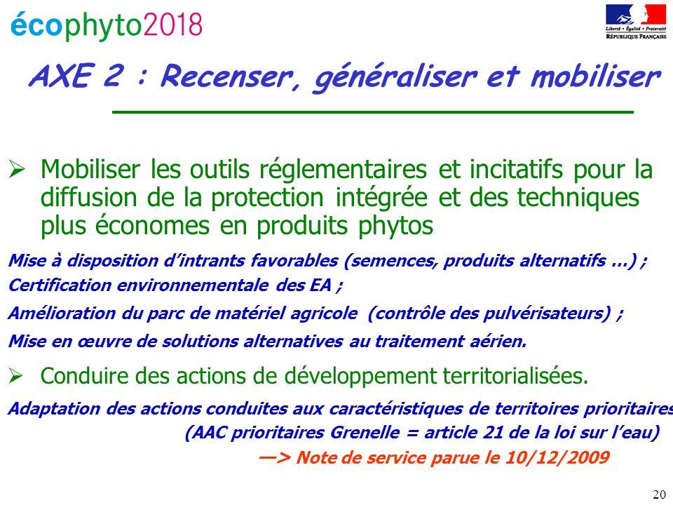 20 AXE 2 : Recenser, généraliser et mobiliser Mobiliser les outils réglementaires et incitatifs pour la diffusion de la protection intégrée et des tec