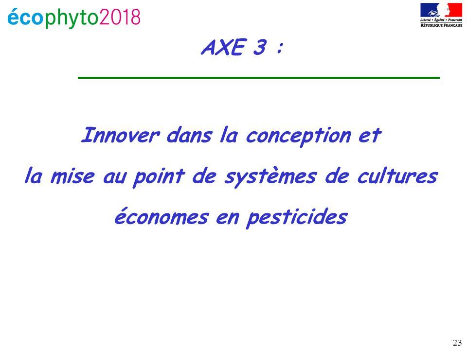 23 AXE 3 : Innover dans la conception et la mise au point de systèmes de cultures économes en pesticides
