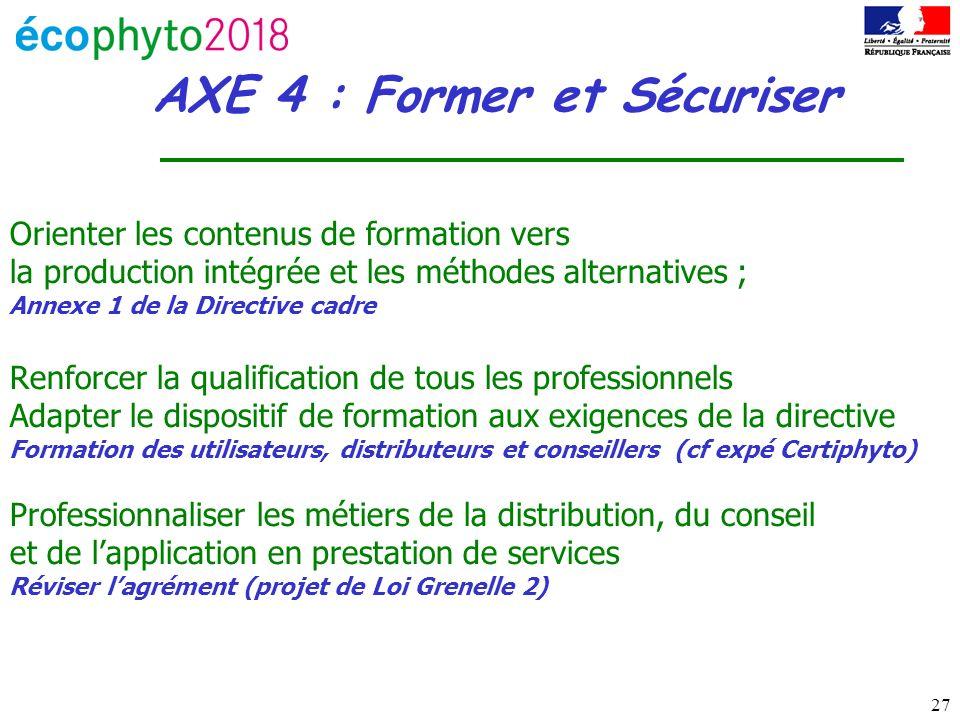 27 AXE 4 : Former et Sécuriser Orienter les contenus de formation vers la production intégrée et les méthodes alternatives ; Annexe 1 de la Directive