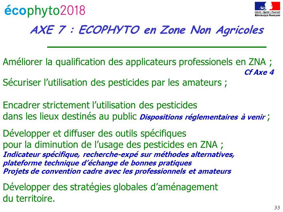 33 AXE 7 : ECOPHYTO en Zone Non Agricoles Améliorer la qualification des applicateurs professionels en ZNA ; Cf Axe 4 Sécuriser lutilisation des pesticides par les amateurs ; Encadrer strictement lutilisation des pesticides dans les lieux destinés au public Dispositions réglementaires à venir ; Développer et diffuser des outils spécifiques pour la diminution de lusage des pesticides en ZNA ; Indicateur spécifique, recherche-expé sur méthodes alternatives, plateforme technique déchange de bonnes pratiques Projets de convention cadre avec les professionnels et amateurs Développer des stratégies globales daménagement du territoire.