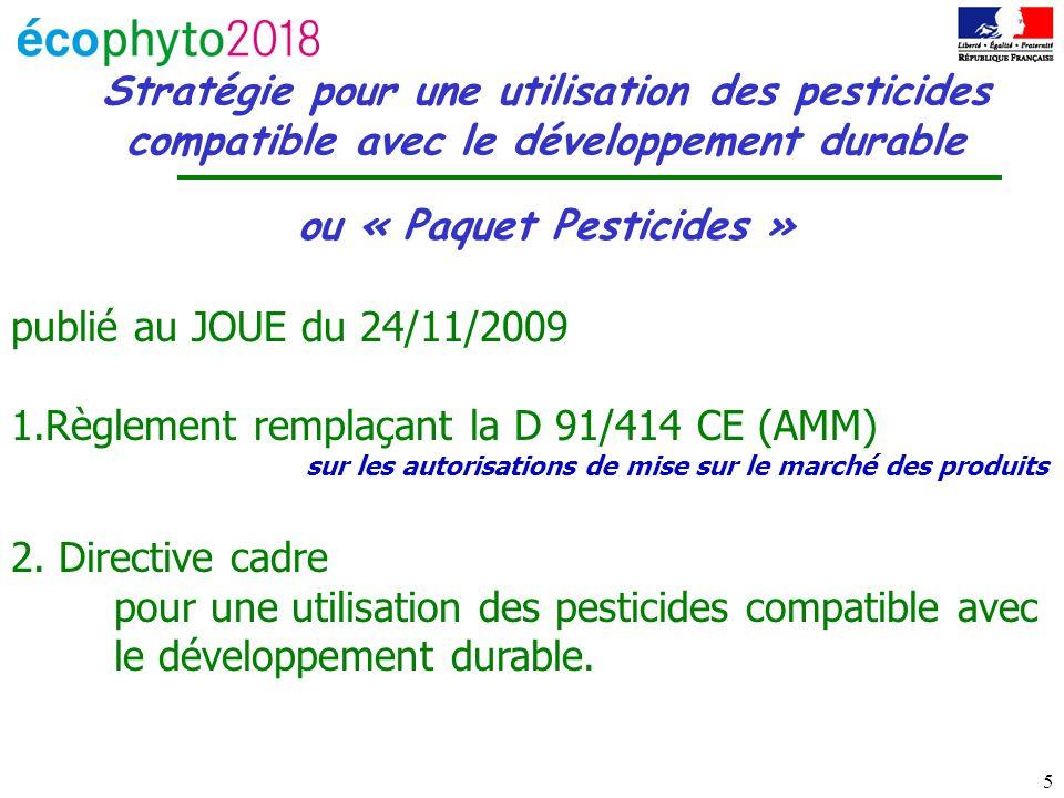 5 Stratégie pour une utilisation des pesticides compatible avec le développement durable ou « Paquet Pesticides » publié au JOUE du 24/11/2009 1.Règlement remplaçant la D 91/414 CE (AMM) sur les autorisations de mise sur le marché des produits 2.