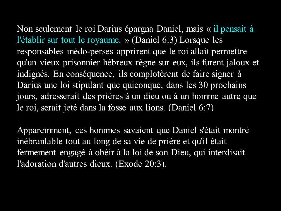 Non seulement le roi Darius épargna Daniel, mais « il pensait à l'établir sur tout le royaume. » (Daniel 6:3) Lorsque les responsables médo-perses app