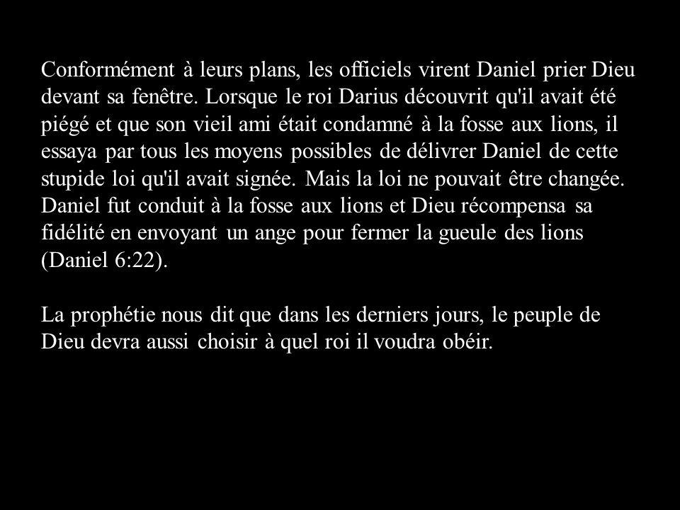 Conformément à leurs plans, les officiels virent Daniel prier Dieu devant sa fenêtre. Lorsque le roi Darius découvrit qu'il avait été piégé et que son