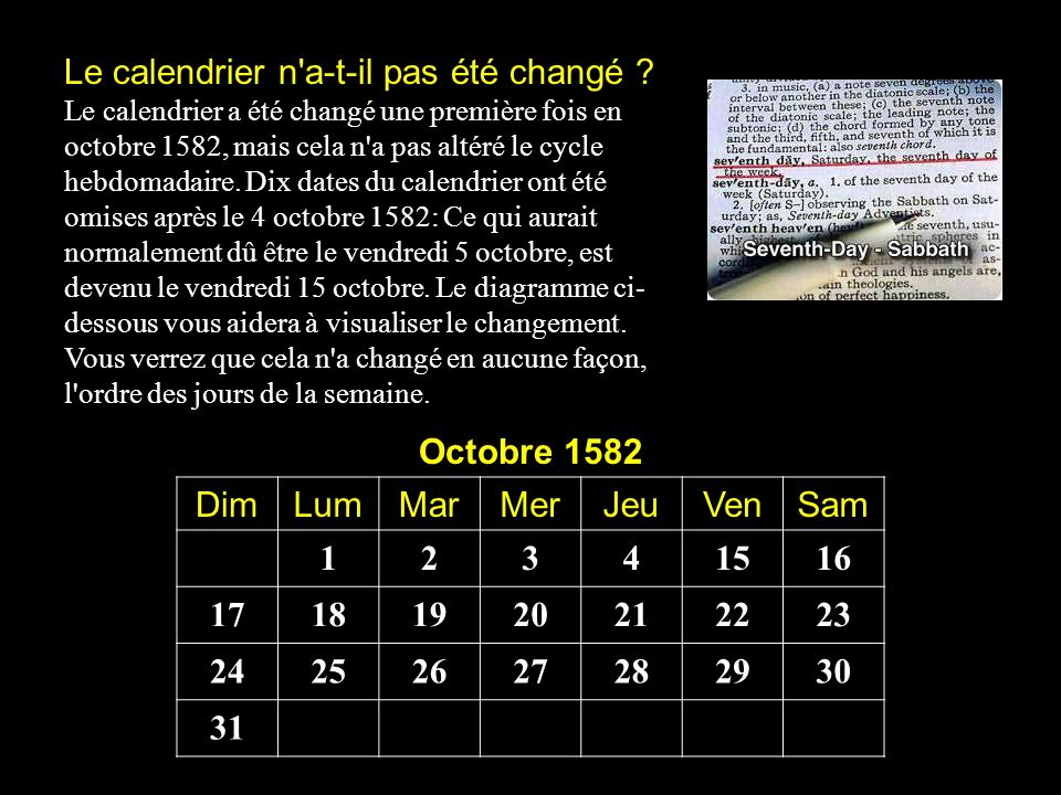 Le calendrier n'a-t-il pas été changé ? Le calendrier a été changé une première fois en octobre 1582, mais cela n'a pas altéré le cycle hebdomadaire.