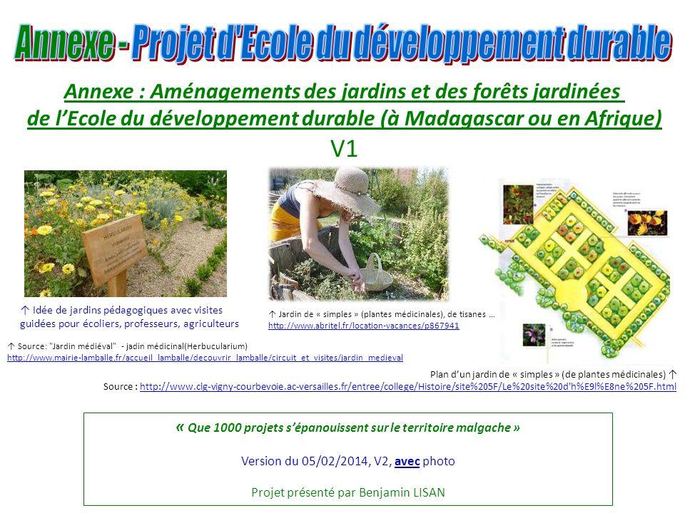 « Que 1000 projets sépanouissent sur le territoire malgache » Version du 05/02/2014, V2, avec photo Projet présenté par Benjamin LISAN Plan dun jardin