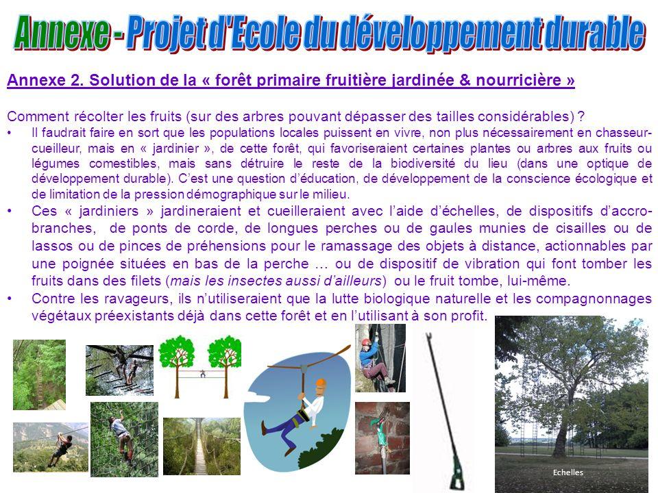 13 Annexe 2. Solution de la « forêt primaire fruitière jardinée & nourricière » Comment récolter les fruits (sur des arbres pouvant dépasser des taill