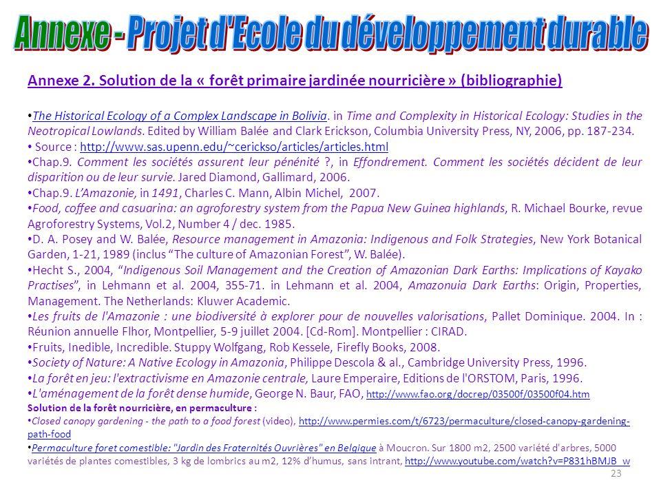 23 Annexe 2. Solution de la « forêt primaire jardinée nourricière » (bibliographie) The Historical Ecology of a Complex Landscape in Bolivia. in Time