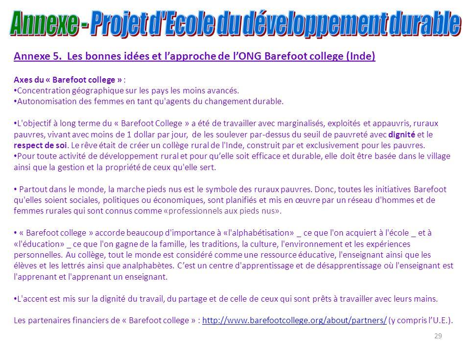 29 Annexe 5. Les bonnes idées et lapproche de lONG Barefoot college (Inde) Axes du « Barefoot college » : Concentration géographique sur les pays les