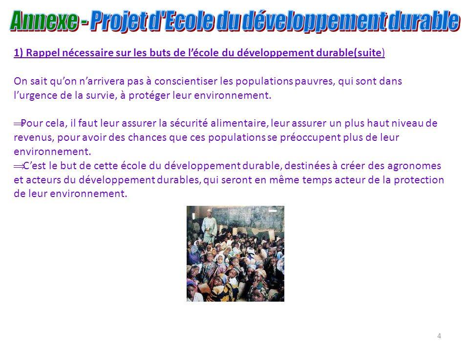 4 1) Rappel nécessaire sur les buts de lécole du développement durable(suite) On sait quon narrivera pas à conscientiser les populations pauvres, qui
