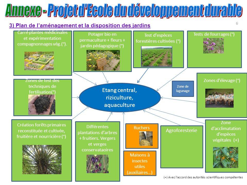 6 Etang central, riziculture, aquaculture Carré plantes médicinales et expérimentation compagnonnages vég.(°). Zones délevage (°) Test despèces forest