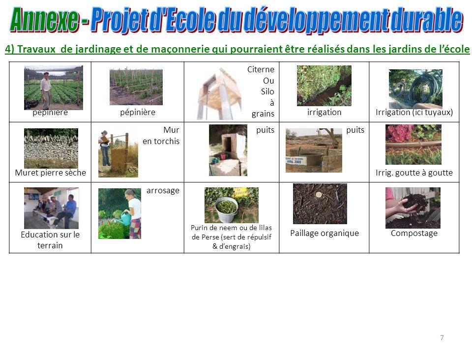 8 Ombrières : Protection des jeunes plants contre le soleil (pour certaines espèces darbres).