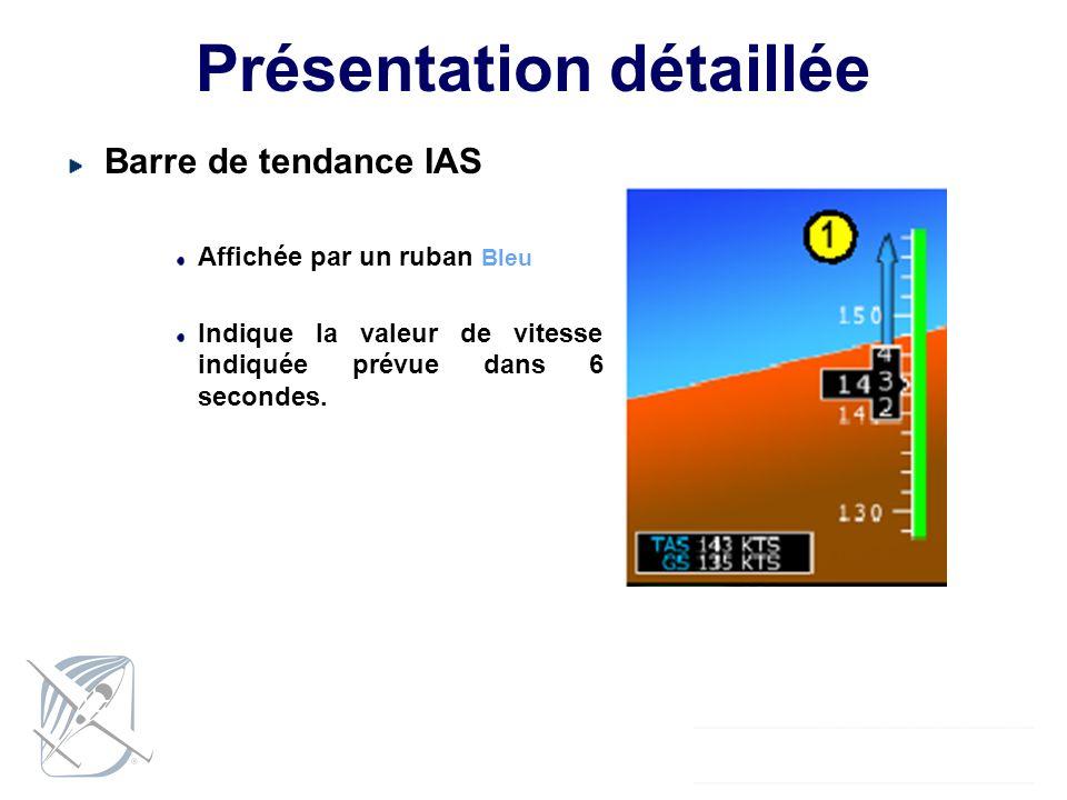 Présentation détaillée Barre de tendance IAS Affichée par un ruban Bleu Indique la valeur de vitesse indiquée prévue dans 6 secondes.