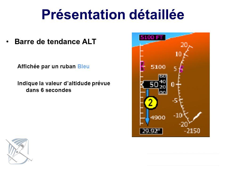 Présentation détaillée Barre de tendance ALT Affichée par un ruban Bleu Indique la valeur daltidude prévue dans 6 secondes