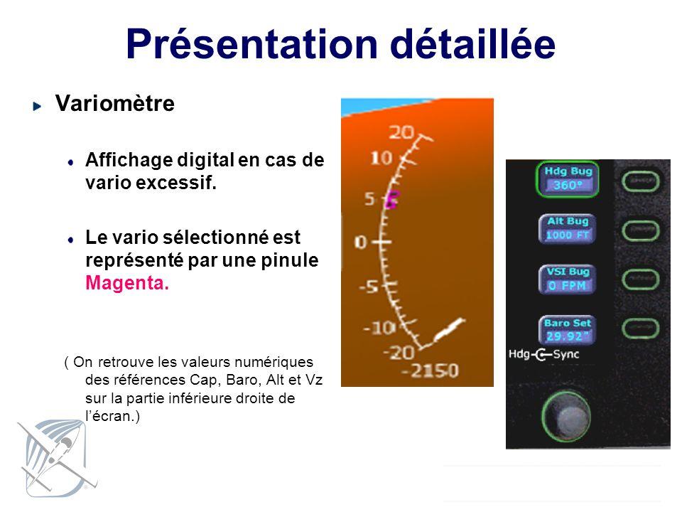 Présentation détaillée Variomètre Affichage digital en cas de vario excessif. Le vario sélectionné est représenté par une pinule Magenta. ( On retrouv