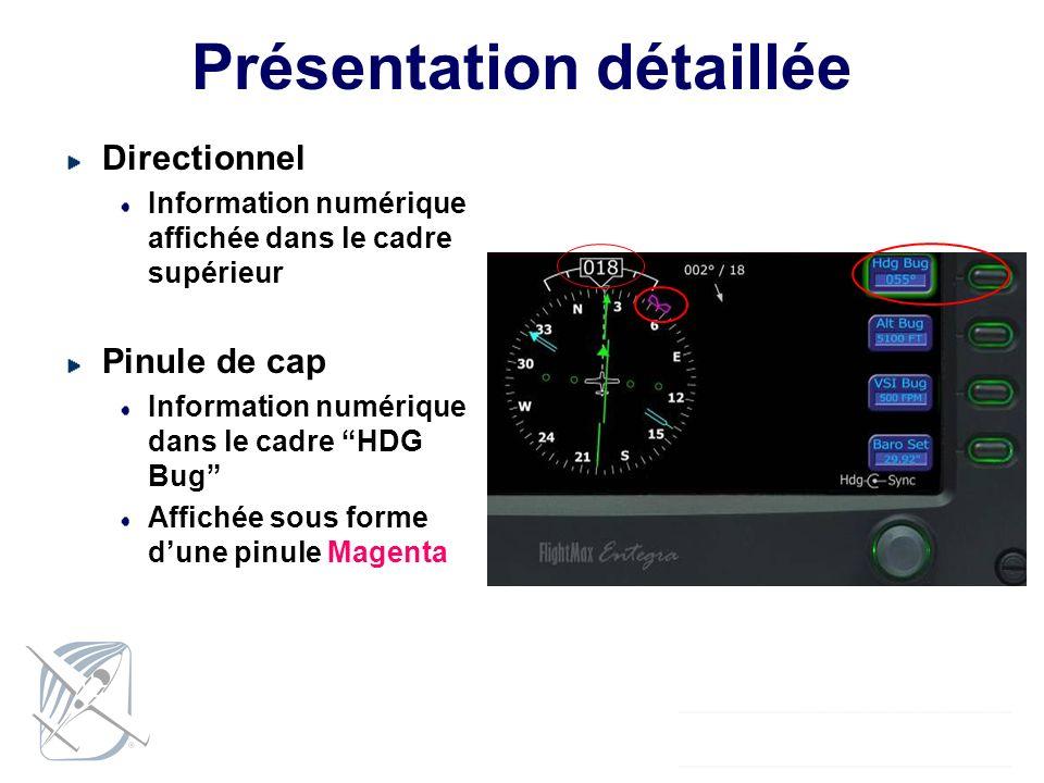 Présentation détaillée Directionnel Information numérique affichée dans le cadre supérieur Pinule de cap Information numérique dans le cadre HDG Bug A