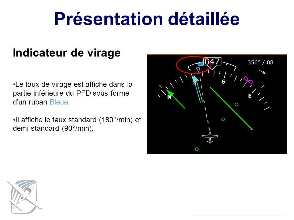 Présentation détaillée Indicateur de virage Le taux de virage est affiché dans la partie inférieure du PFD sous forme dun ruban Bleue. Il affiche le t