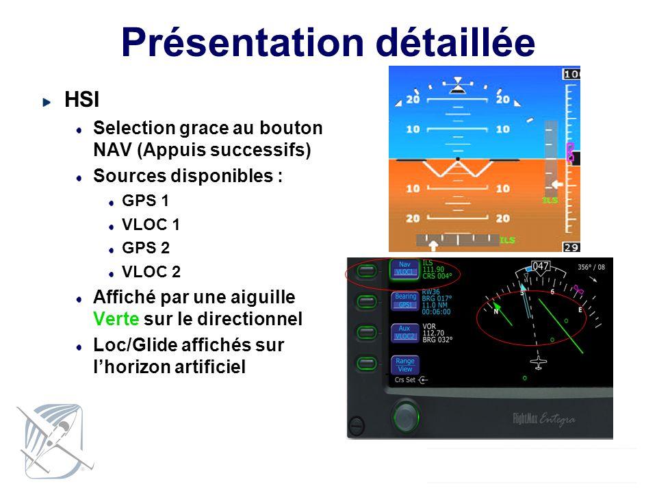 Présentation détaillée HSI Selection grace au bouton NAV (Appuis successifs) Sources disponibles : GPS 1 VLOC 1 GPS 2 VLOC 2 Affiché par une aiguille