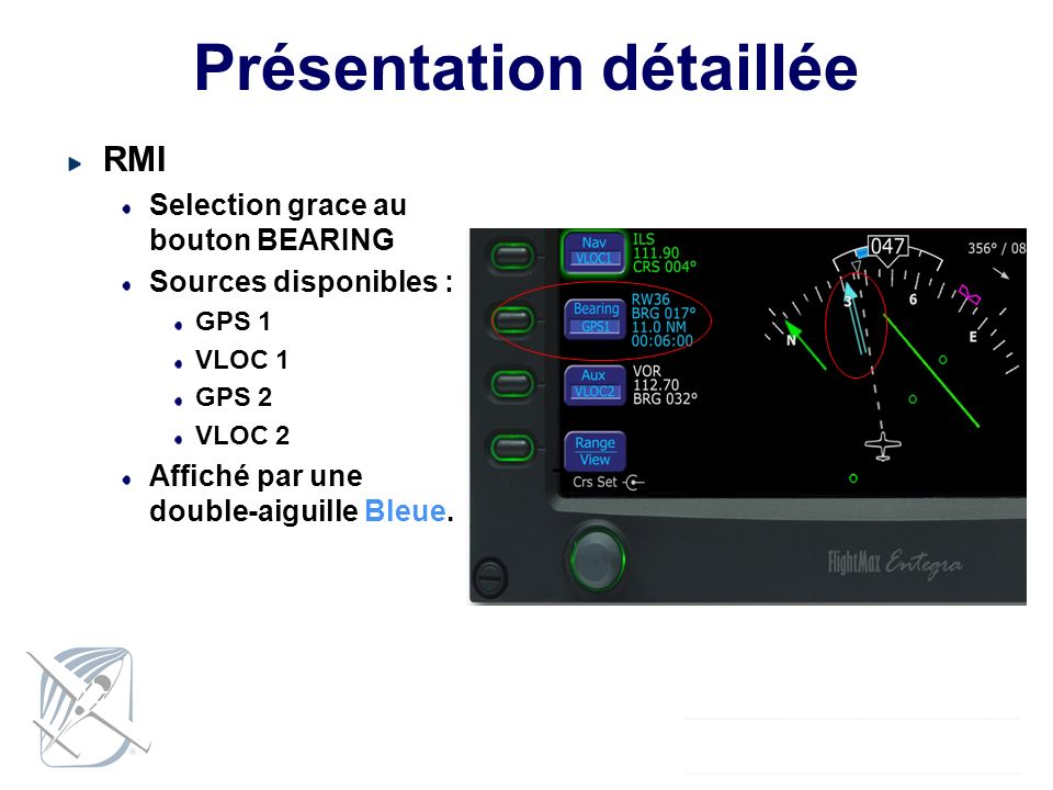 Présentation détaillée RMI Selection grace au bouton BEARING Sources disponibles : GPS 1 VLOC 1 GPS 2 VLOC 2 Affiché par une double-aiguille Bleue.