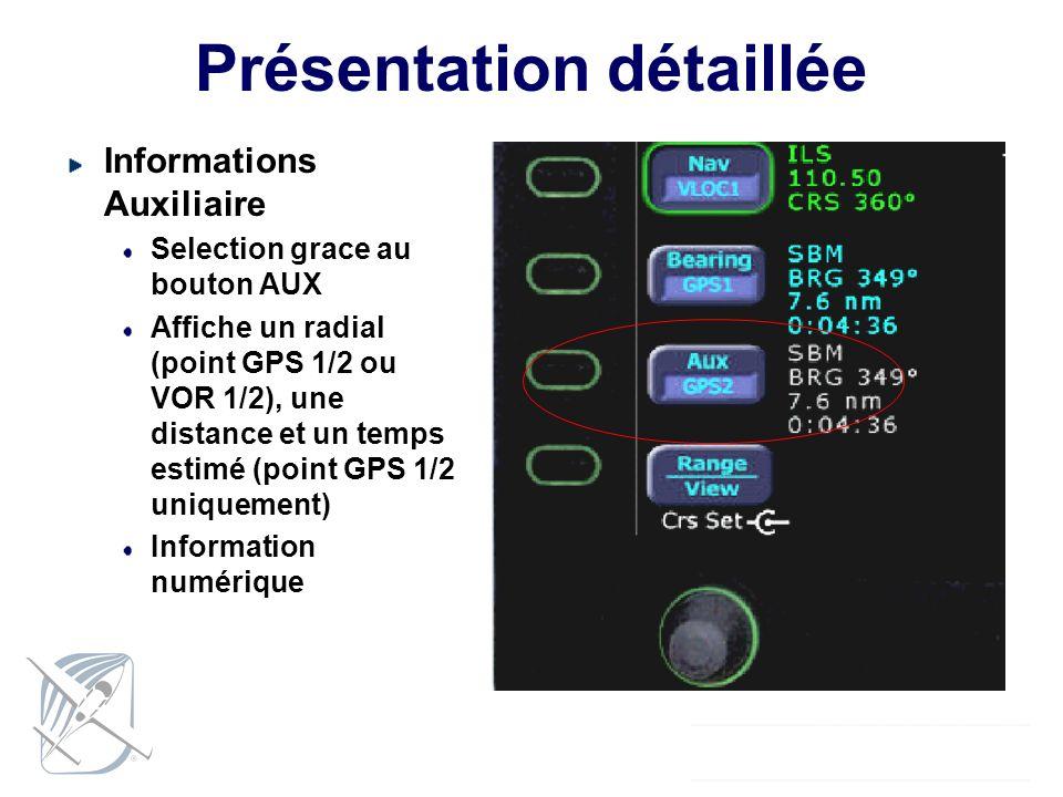 Présentation détaillée Informations Auxiliaire Selection grace au bouton AUX Affiche un radial (point GPS 1/2 ou VOR 1/2), une distance et un temps es