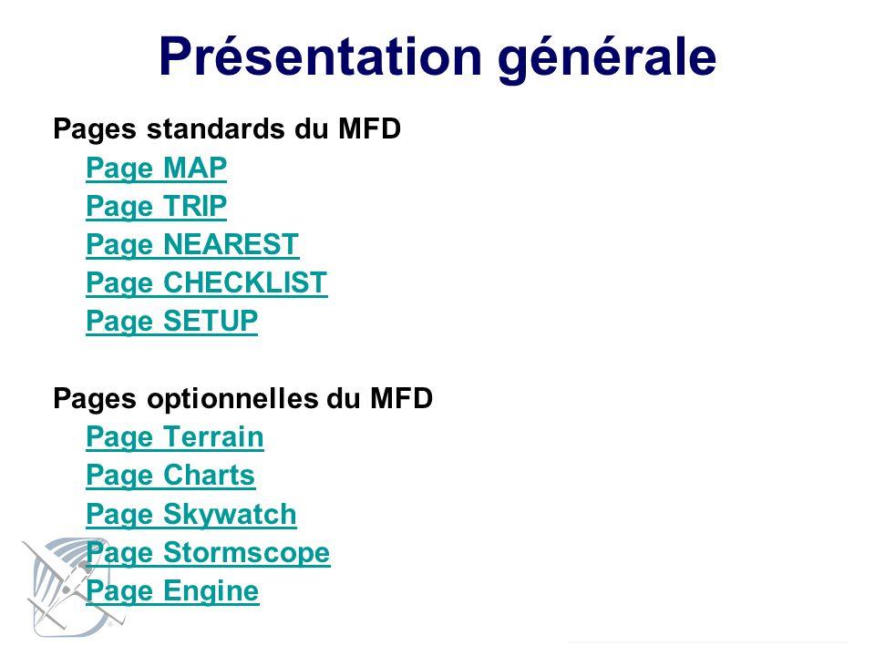 Présentation générale Pages standards du MFD Page MAP Page TRIP Page NEAREST Page CHECKLIST Page SETUP Pages optionnelles du MFD Page Terrain Page Cha