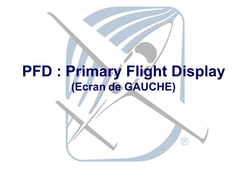 PFD : Primary Flight Display (Ecran de GAUCHE)
