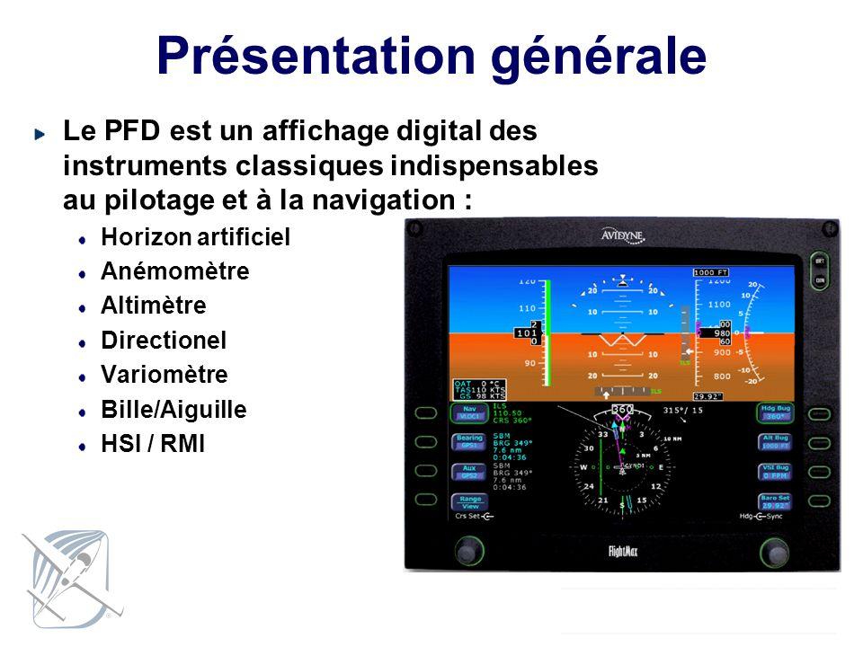 Présentation générale Le PFD est un affichage digital des instruments classiques indispensables au pilotage et à la navigation : Horizon artificiel An