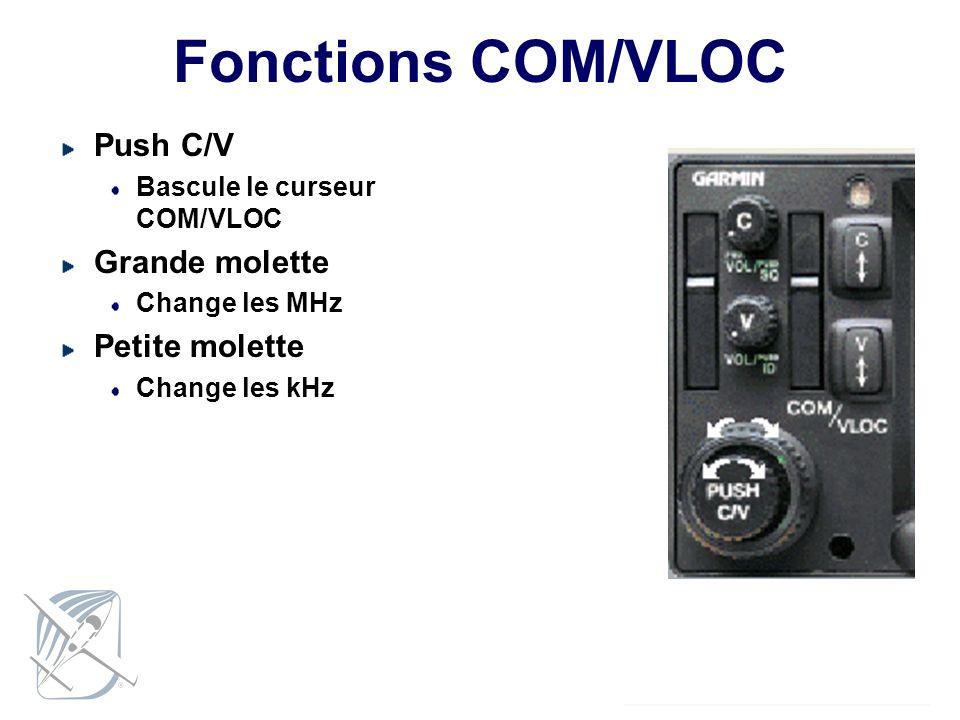 Fonctions COM/VLOC Push C/V Bascule le curseur COM/VLOC Grande molette Change les MHz Petite molette Change les kHz