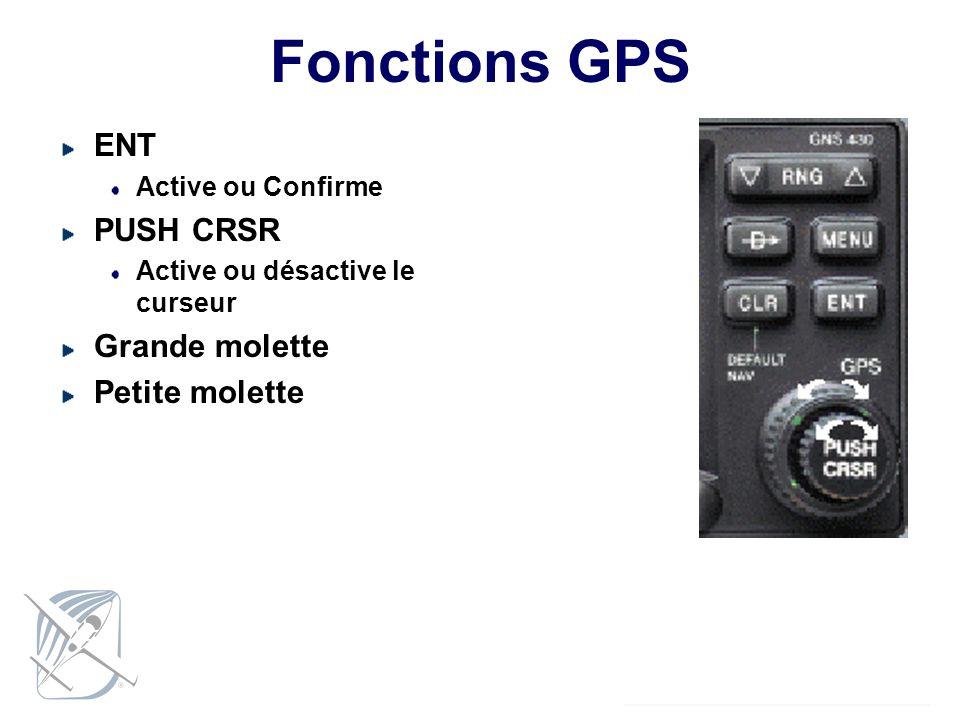 Fonctions GPS ENT Active ou Confirme PUSH CRSR Active ou désactive le curseur Grande molette Petite molette