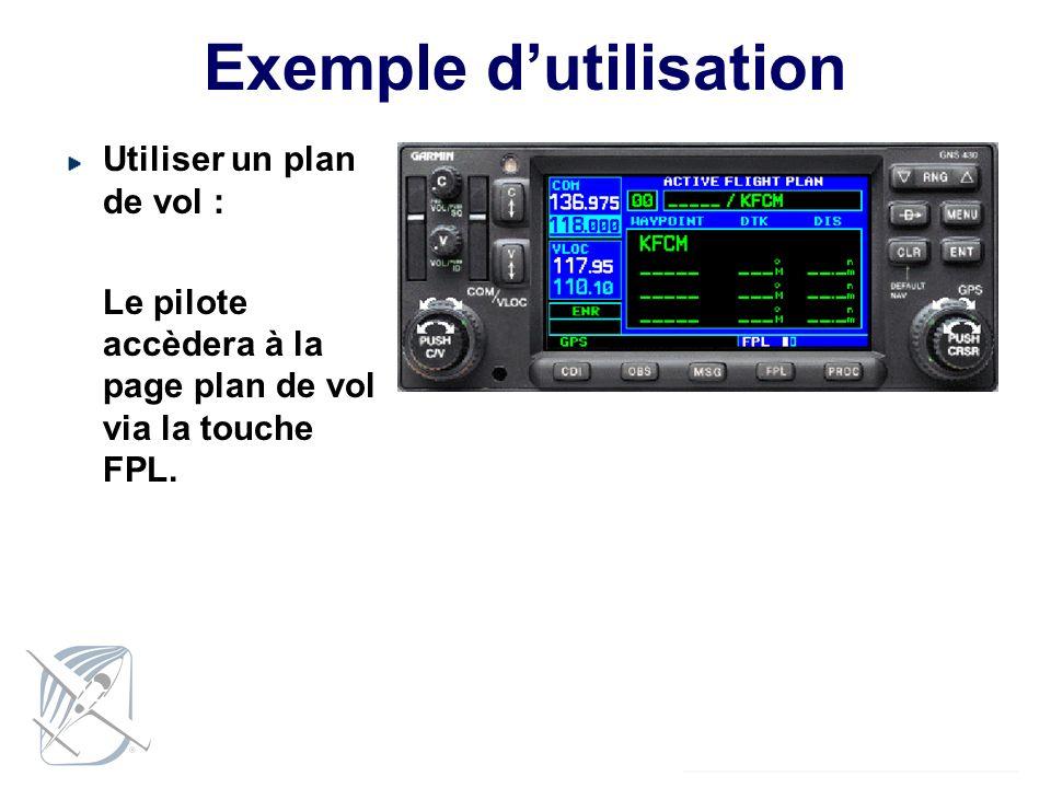 Exemple dutilisation Utiliser un plan de vol : Le pilote accèdera à la page plan de vol via la touche FPL.