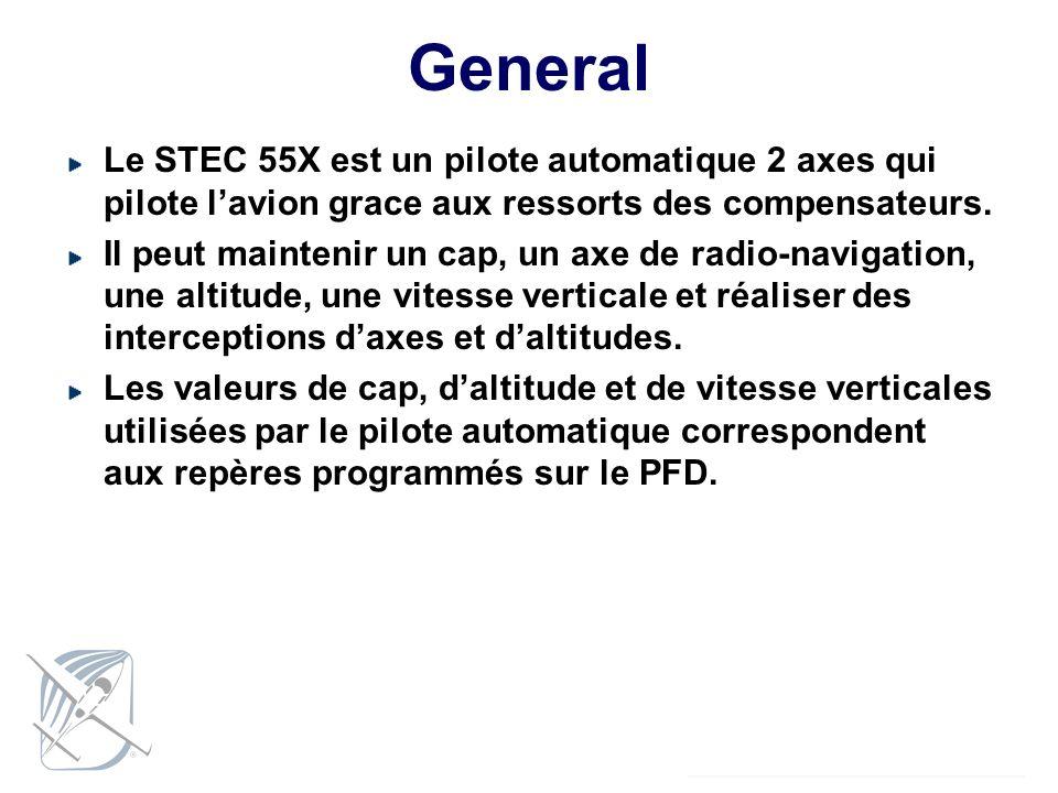 General Le STEC 55X est un pilote automatique 2 axes qui pilote lavion grace aux ressorts des compensateurs. Il peut maintenir un cap, un axe de radio