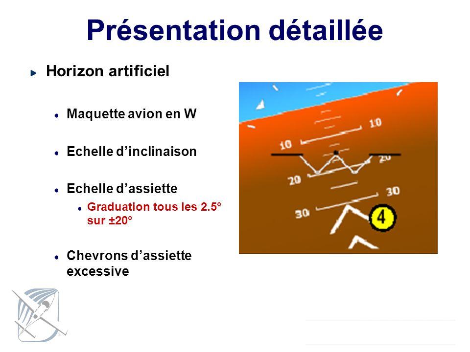 Présentation détaillée Horizon artificiel Maquette avion en W Echelle dinclinaison Echelle dassiette Graduation tous les 2.5° sur ±20° Chevrons dassie